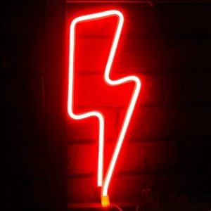 Neon Red Lightning Bolt LED Room/Wall/Party Decor